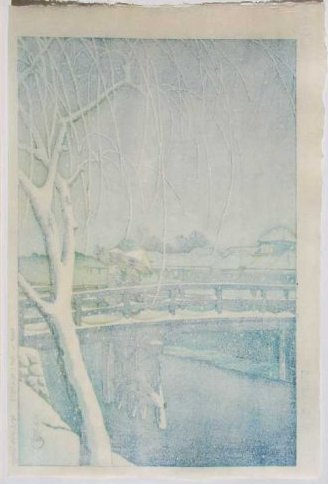 Hasui -- Evening Snow Edo River (Seki) Woodblock - 2