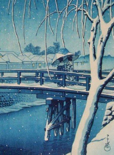 Hasui -- Evening Snow Edo River (Seki) Woodblock - 3