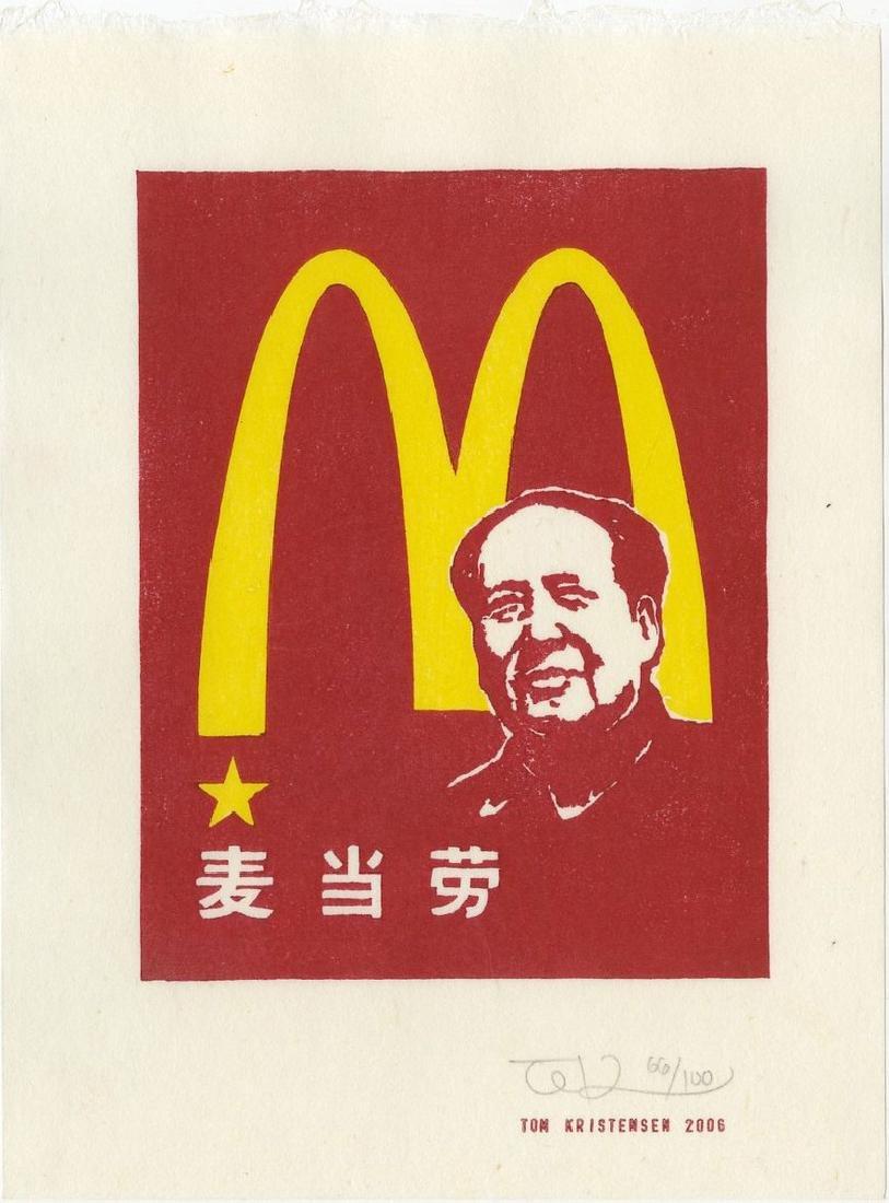 Tom Kristensen -- M is for Mao (#66/100) woodblock
