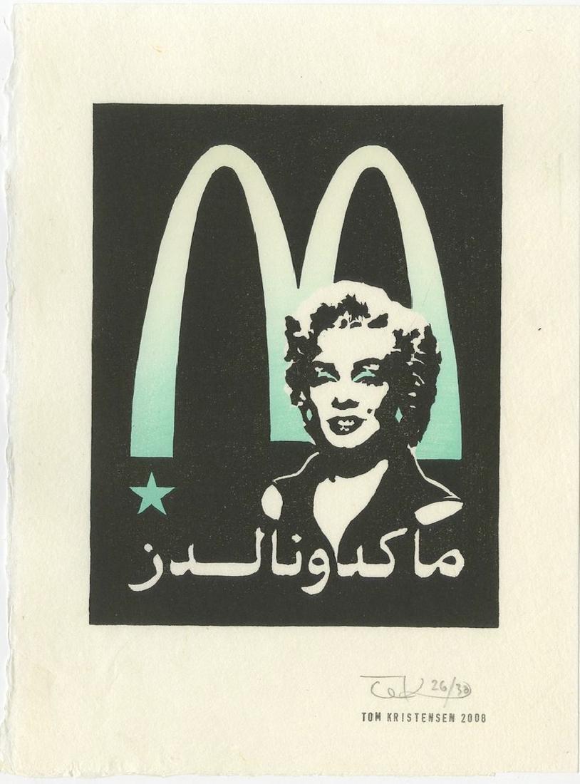 Tom Kristensen -- M is for Marilyn (#26/30) woodblock