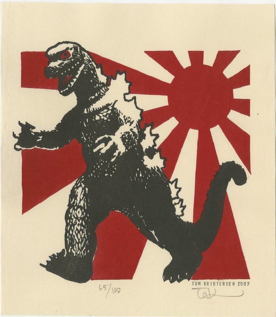 Tom Kristensen -- Godzilla and Japanese Flag (#65/100)