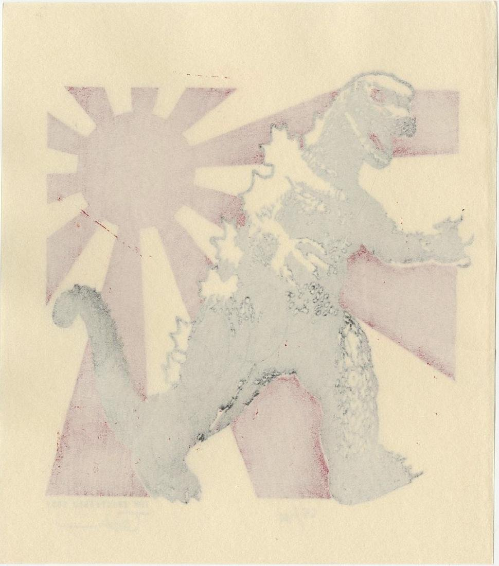 Tom Kristensen -- Godzilla and Japanese Flag (#65/100) - 2