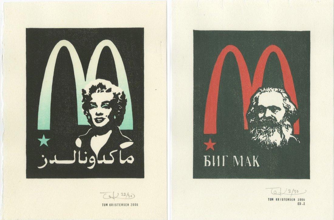 Tom Kristensen -- Marx AND Marilyn (SET of 2) woodblock