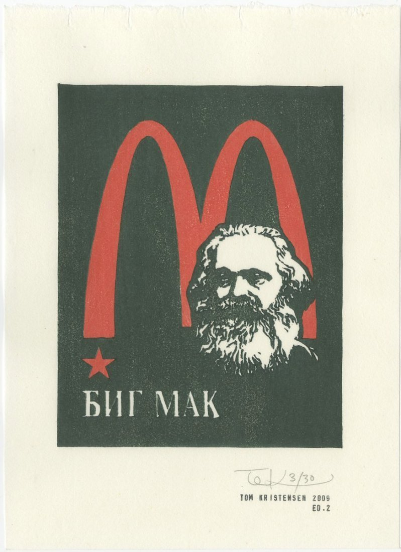 Tom Kristensen -- Marx AND Marilyn (SET of 2) woodblock - 3