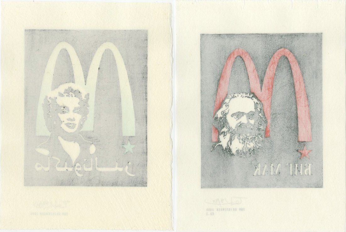 Tom Kristensen -- Marx AND Marilyn (SET of 2) woodblock - 4