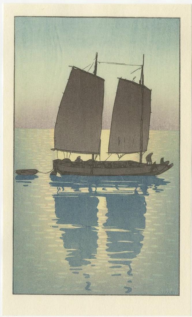 (After) Hiroshi Yoshida -- Sailing Boat Day woodblock