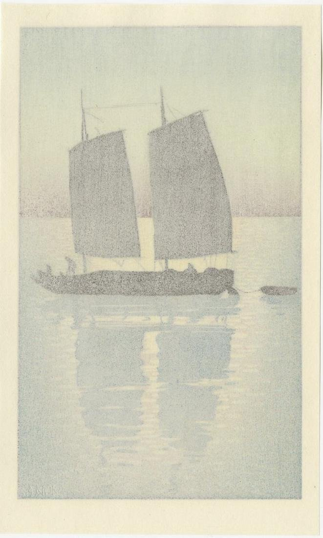 (After) Hiroshi Yoshida -- Sailing Boat Day woodblock - 2