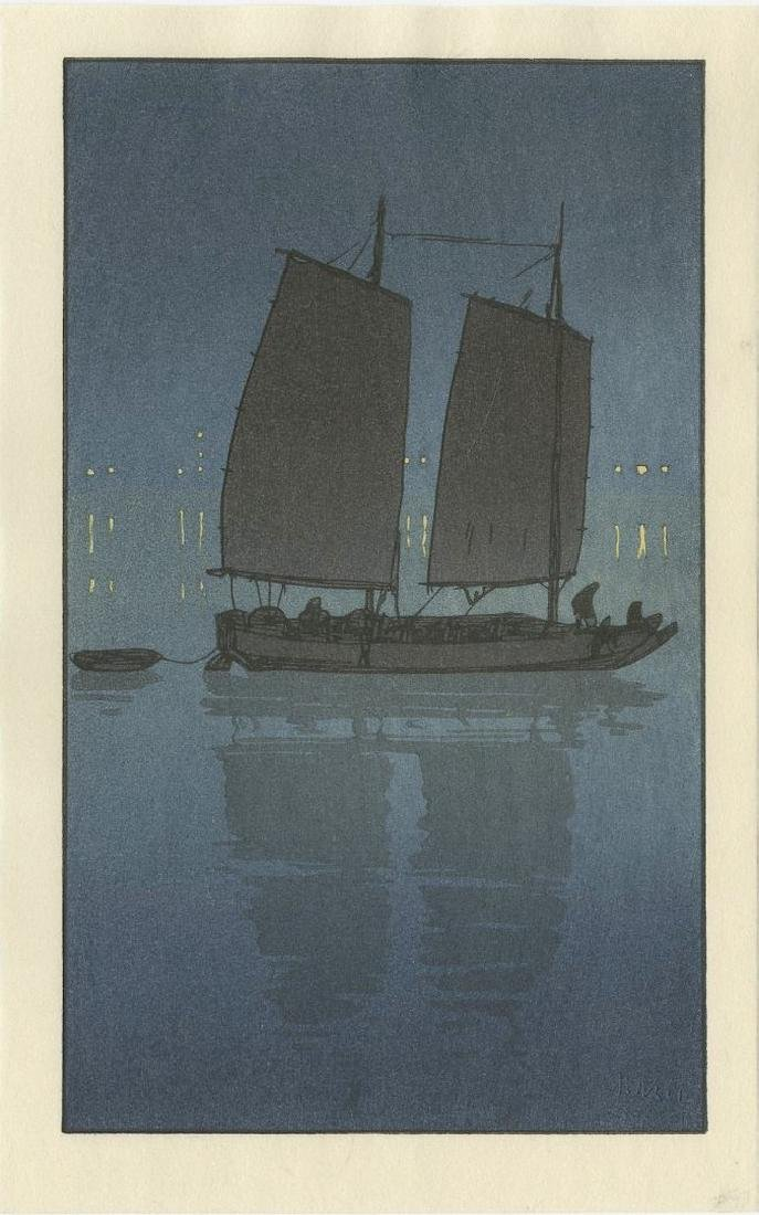 (After) Hiroshi Yoshida -- Sailing Boat Night woodblock