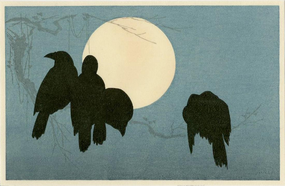 (After) Ogata Korin -- Crows and Moon woodblock