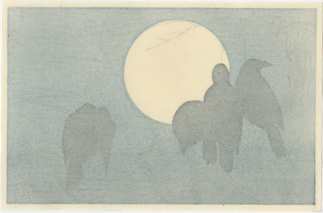 (After) Ogata Korin -- Crows and Moon woodblock - 2