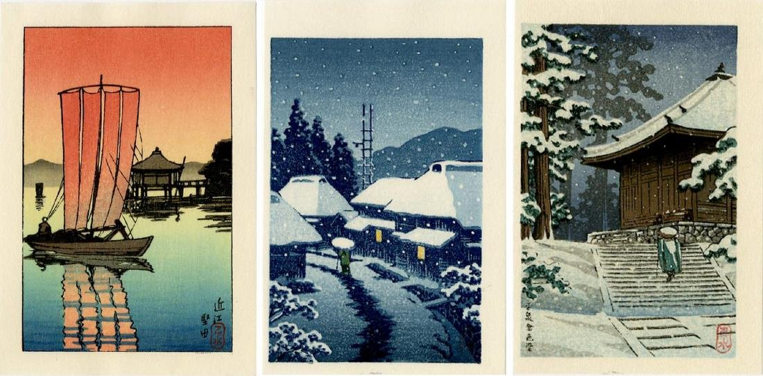 Hasui -- Katada + Konjikido + Terashima woodblock set