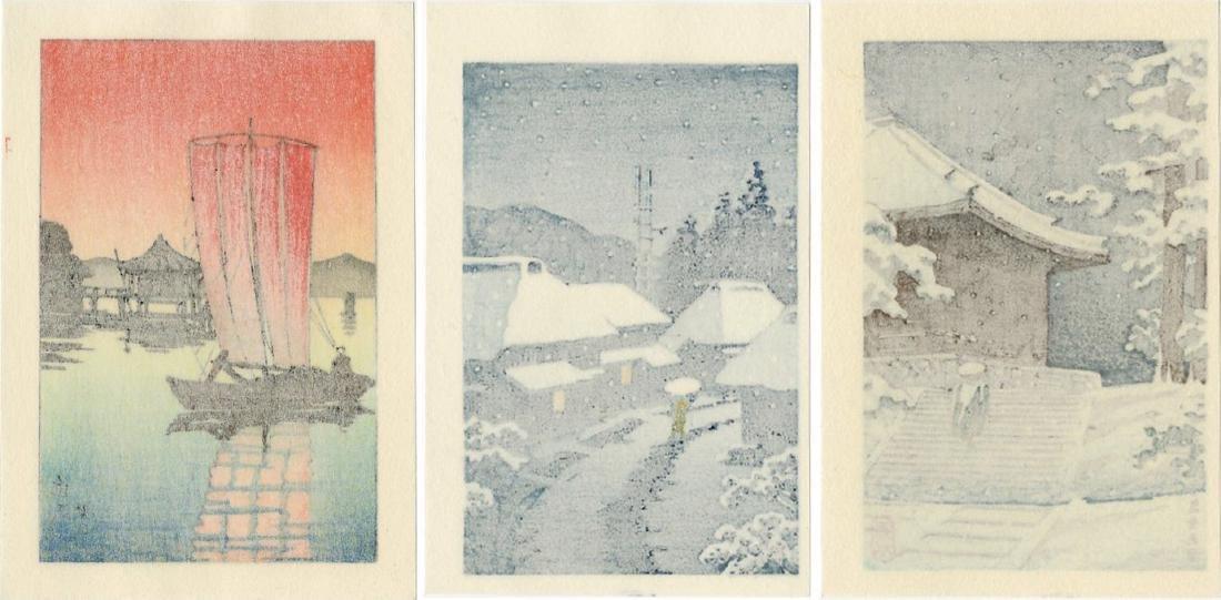 Hasui -- Katada + Konjikido + Terashima woodblock set - 2