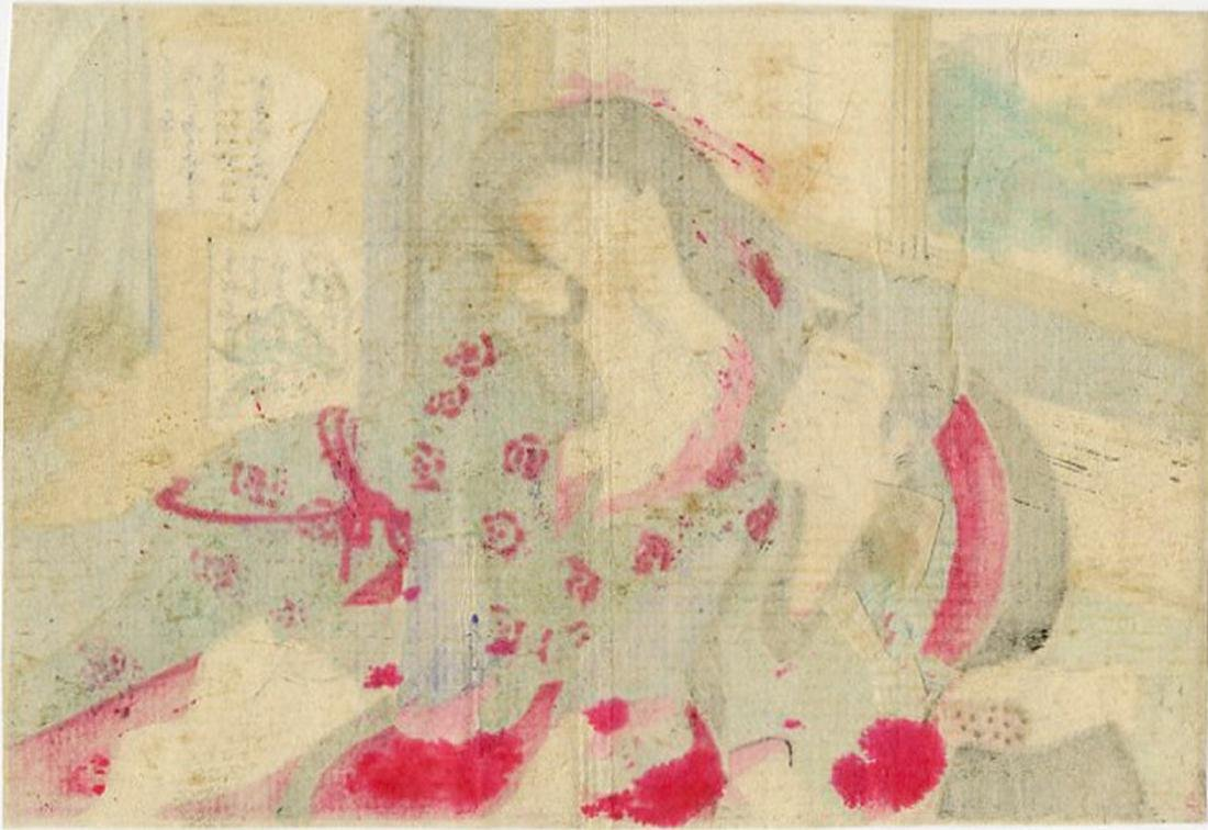 Unsigned -- Couple in Bed shunga woodblock - 2