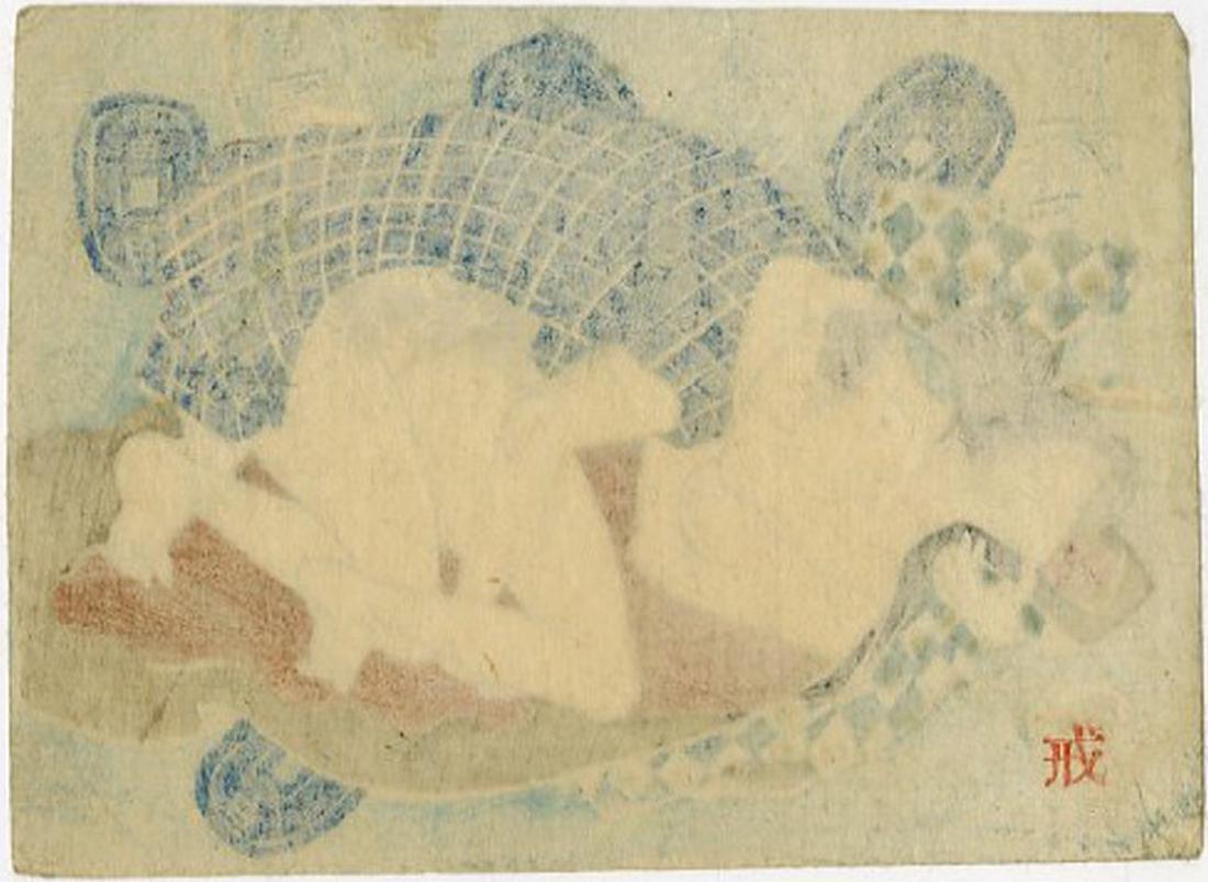 Utagawa -- Couple and Japanese Coins shunga woodblock - 2