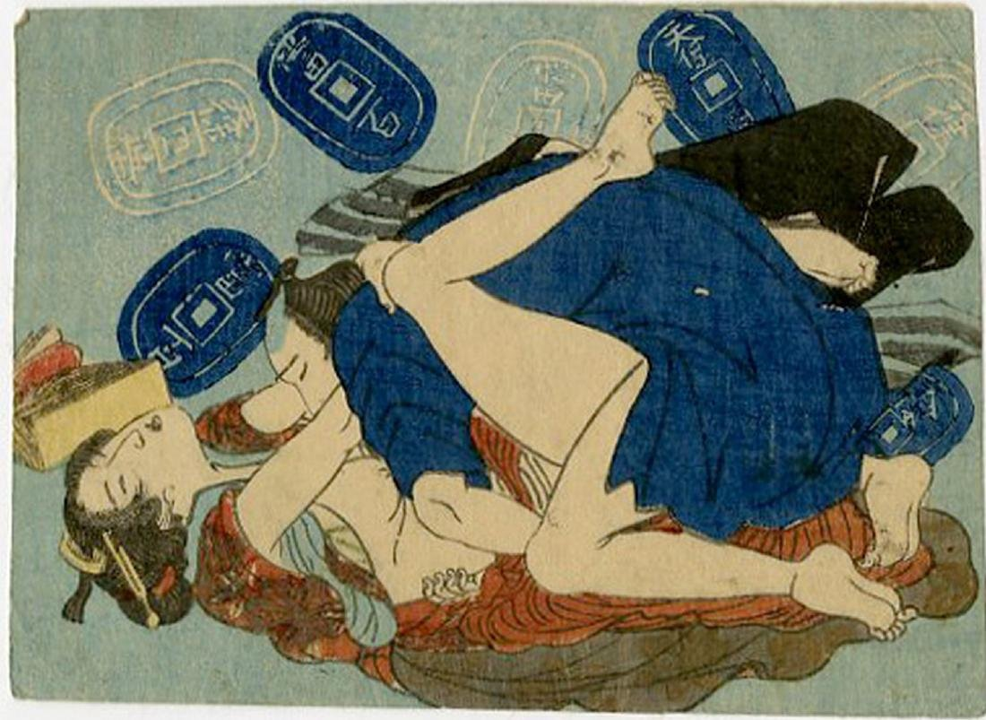 Utagawa -- Couple and Japanese Coins shunga woodblock