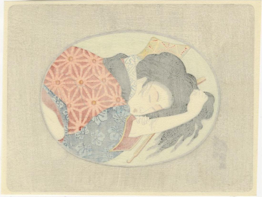 Eisen -- Oval Pillow Print shunga woodblock - 2
