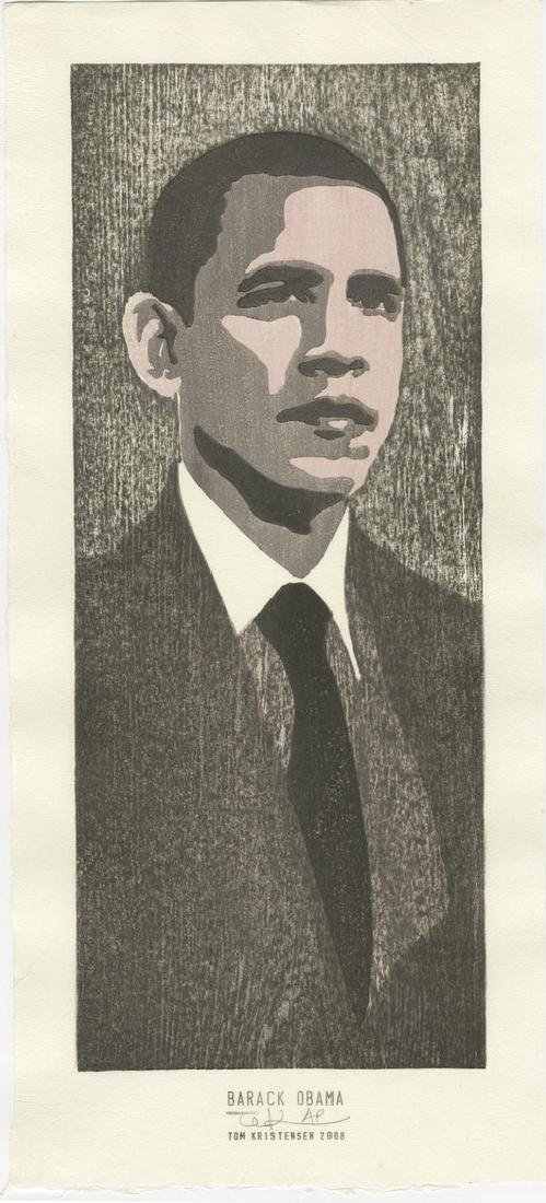 Tom Kristensen -- Barack Obama #AP/35 woodblock