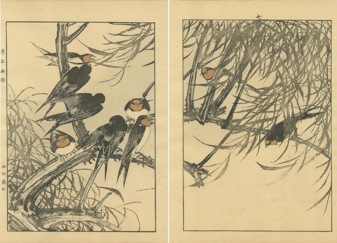 Imao Keinen -- Swallows on Willow 2-panel woodblock