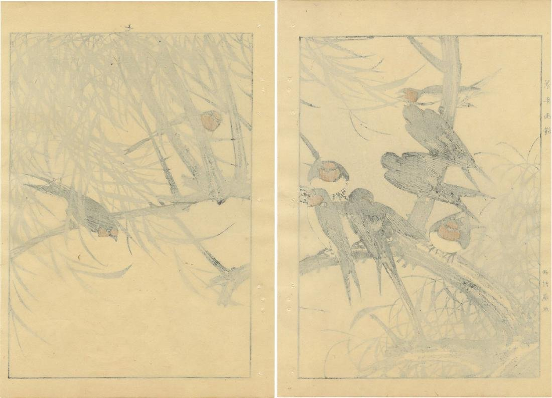 Imao Keinen -- Swallows on Willow 2-panel woodblock - 4