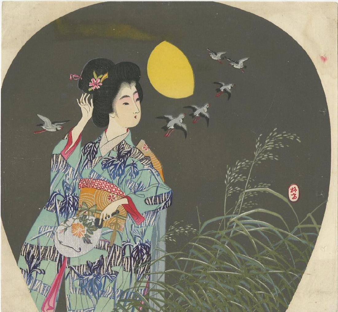 Fan Print -- Beauty in Moonlit Autumn Night woodblock