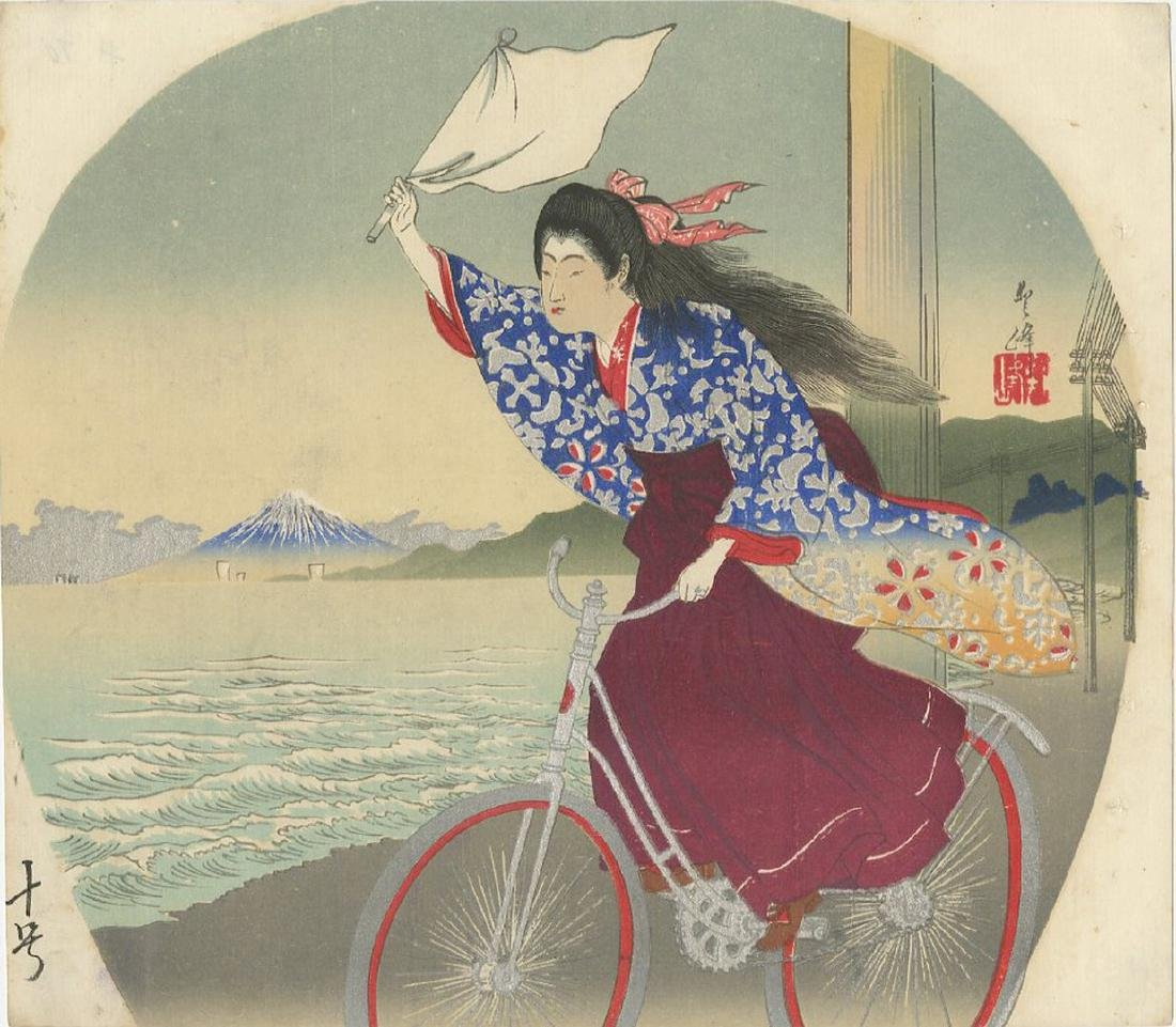 Fan Print -- Beauty Riding a Bicycle woodblock