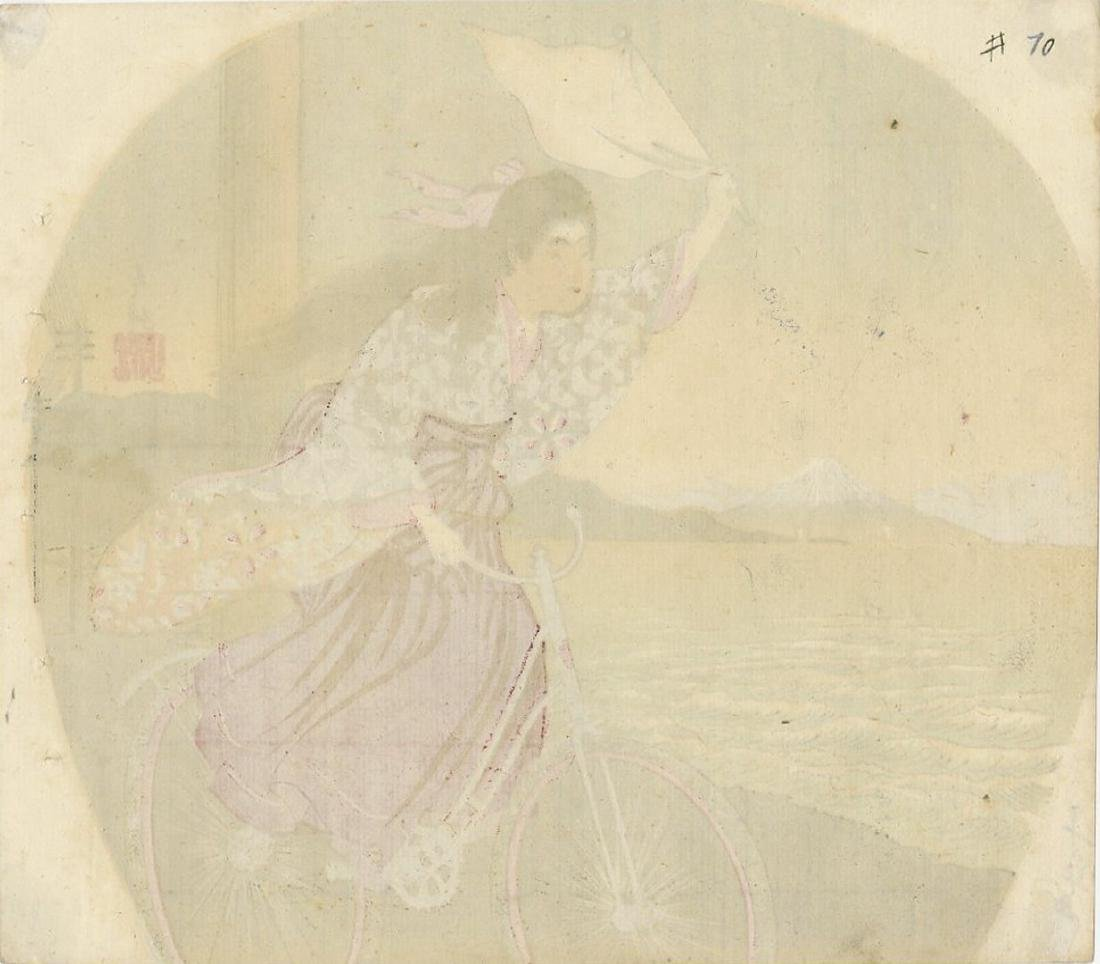 Fan Print -- Beauty Riding a Bicycle woodblock - 2