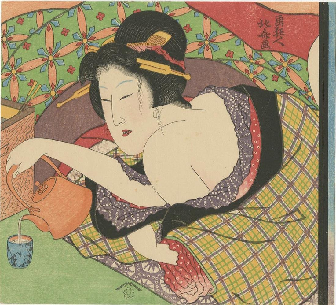 Hokusai -- Beauty with Teapot shunga woodblock