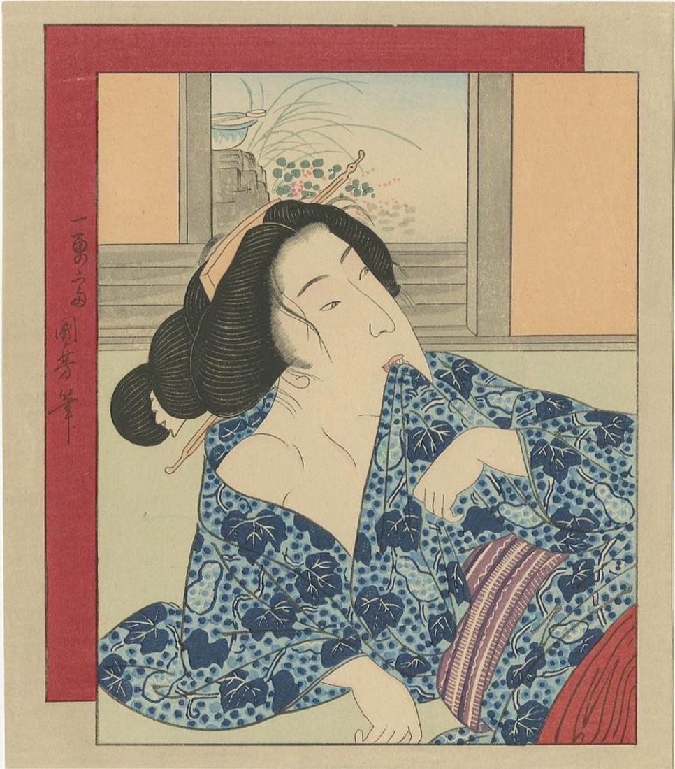 Kuniyoshi -- Beauty in Blue Kimono shunga woodblock