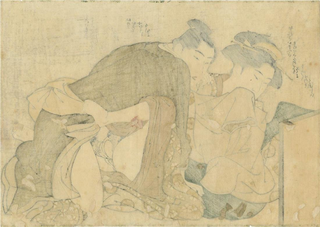 (After) Utamaro -- Lovers Antique color shunga - 2