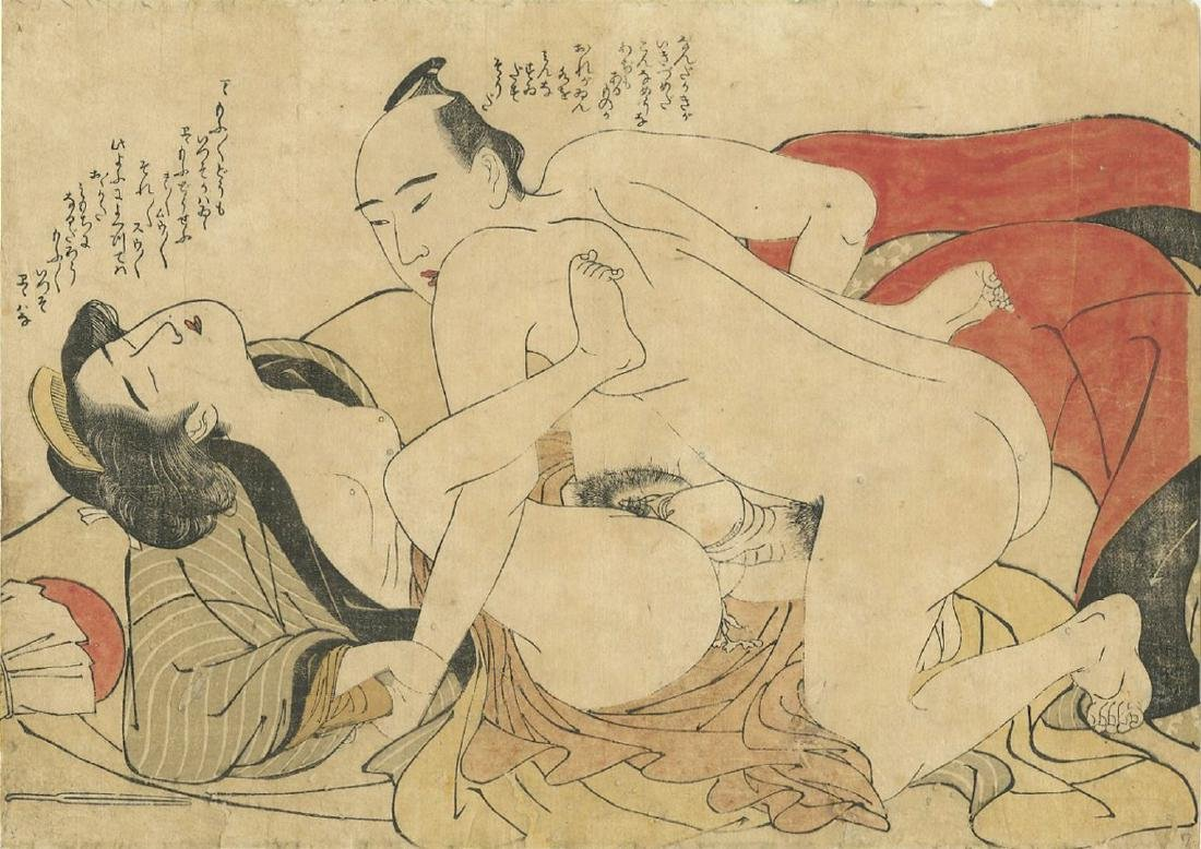 (After) Utamaro -- Lovers Antique color shunga