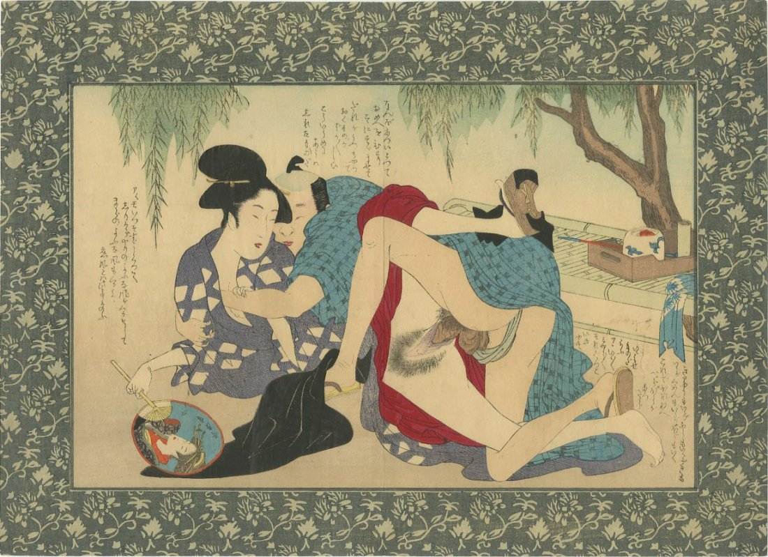 Unsigned -- Couple Embracing Outside shunga woodblock