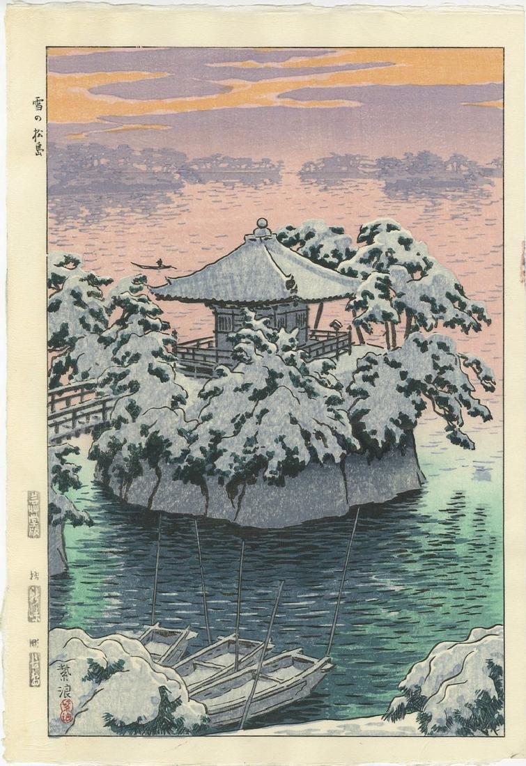 Shiro Kasamatsu -- Snow at Matsushima woodblock