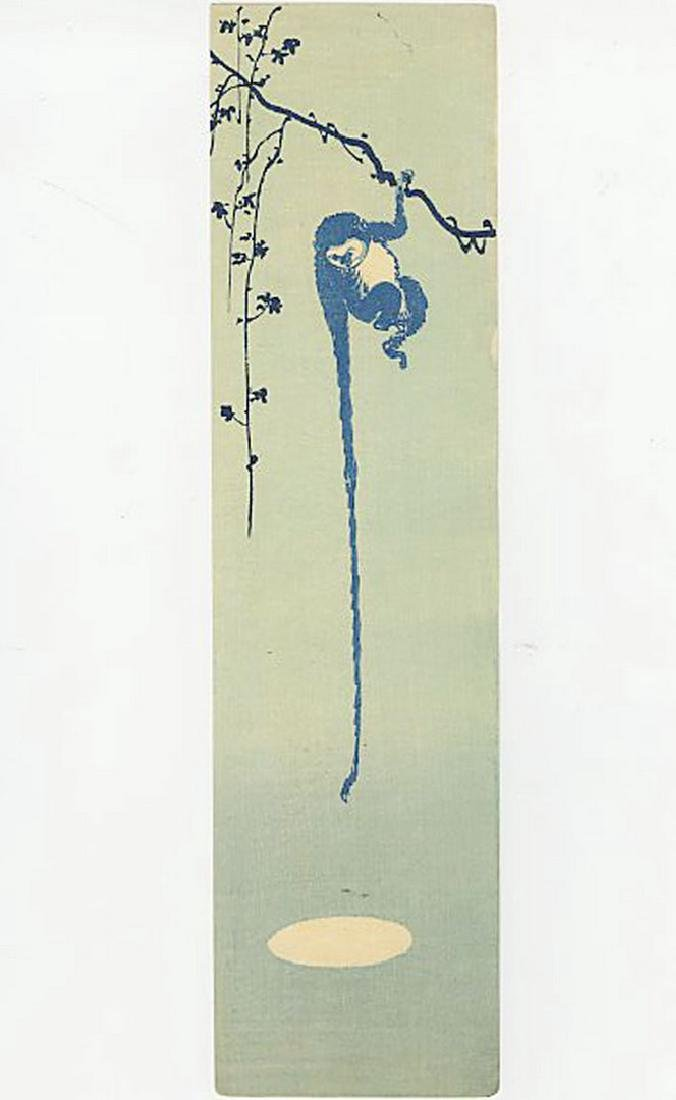 Unsigned -- Monkey Reaching for the Moon woodblock
