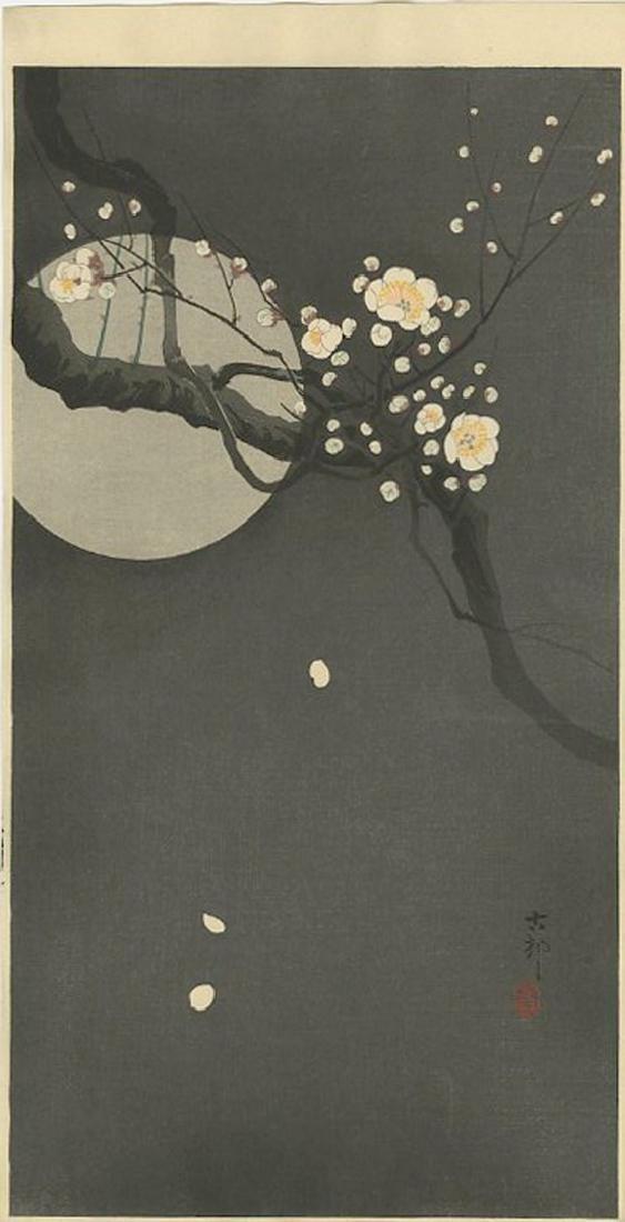 Ohara Koson -- Flowering Plum & Moon Woodblock