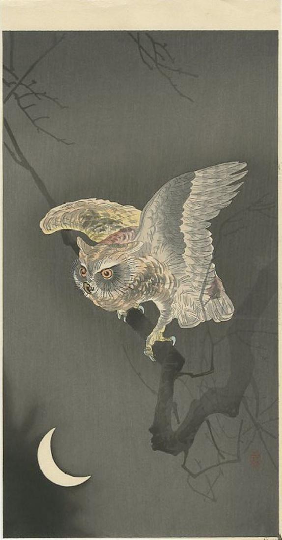 Ohara Koson - Owl and Crescent Moon Woodblock
