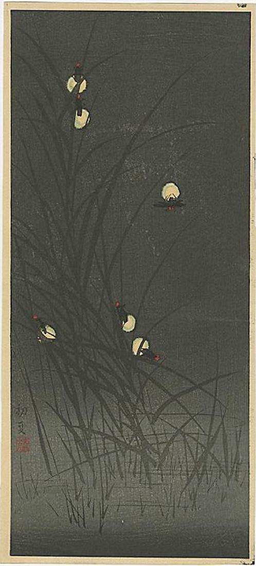 Harumitsu Utagawa - Fireflies in Early Summer Woodblock