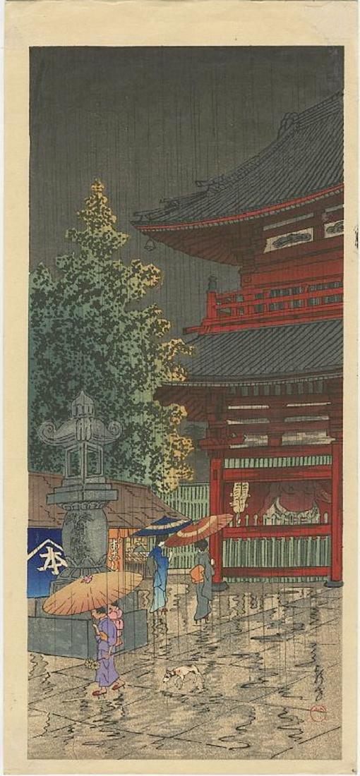 Eisho Narazaki - Asakusa Temple Woodblock