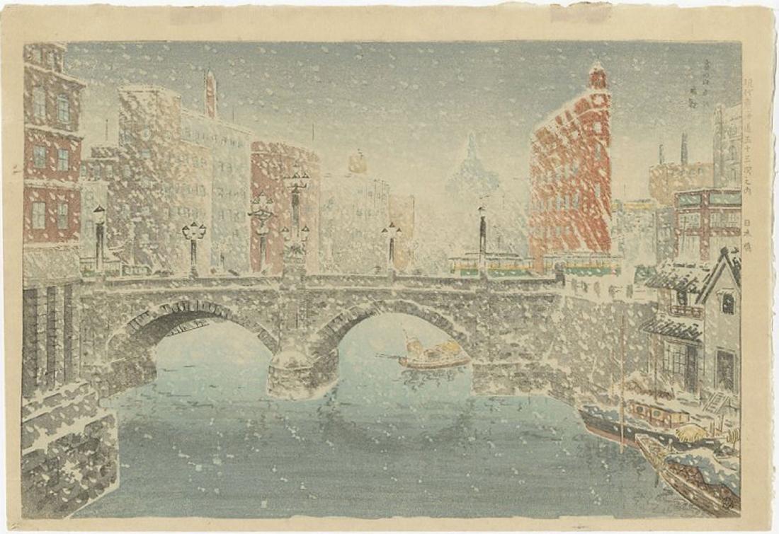 Kokan Bannai - Nihonbashi Bridge in Snow Woodblock