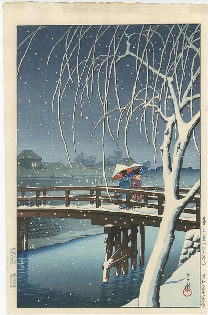 Hasui Kawase - Evening Snow at Edo River Woodblock