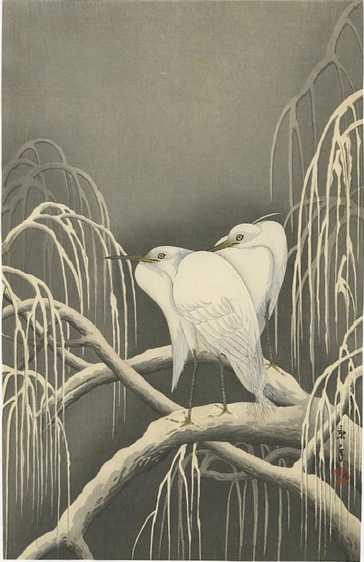 Imao Keinen -- Two Egrets on Snowy Branch Woodblock