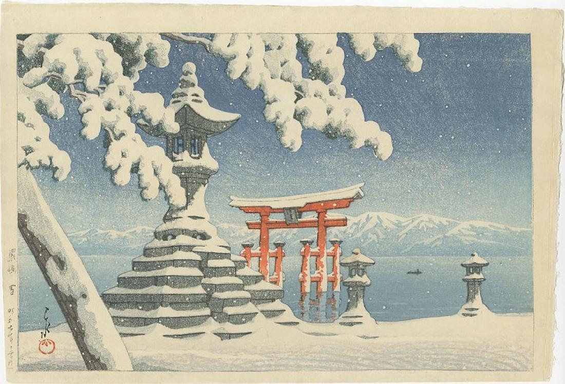 Hasui Kawase - Snow at Itsukushima Woodblock