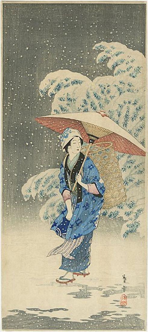Hiroaki Takahashi (Shotei) -- Spring Snow Woodblock