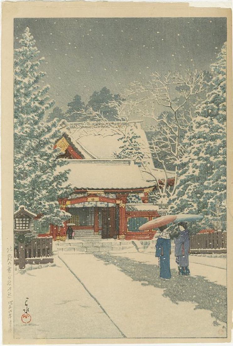 Hasui Kawase - Hiejin Shrine in Snow Woodblock