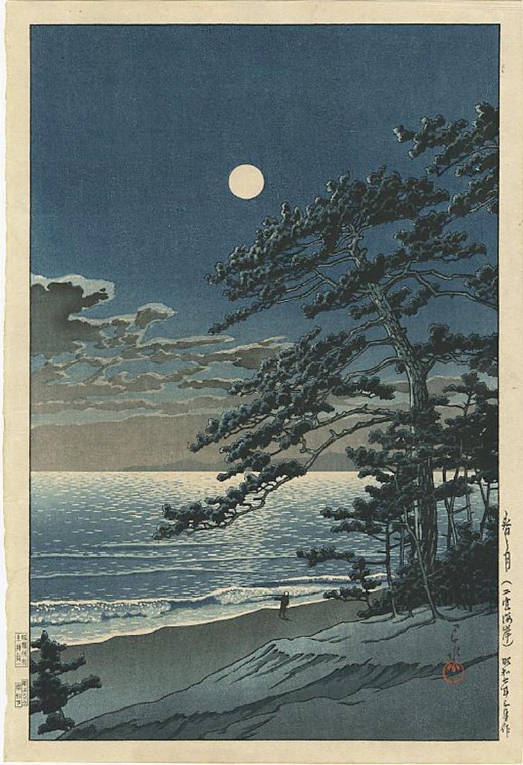 Hasui Kawase - Spring Moon Ninomiya Beach Woodblock