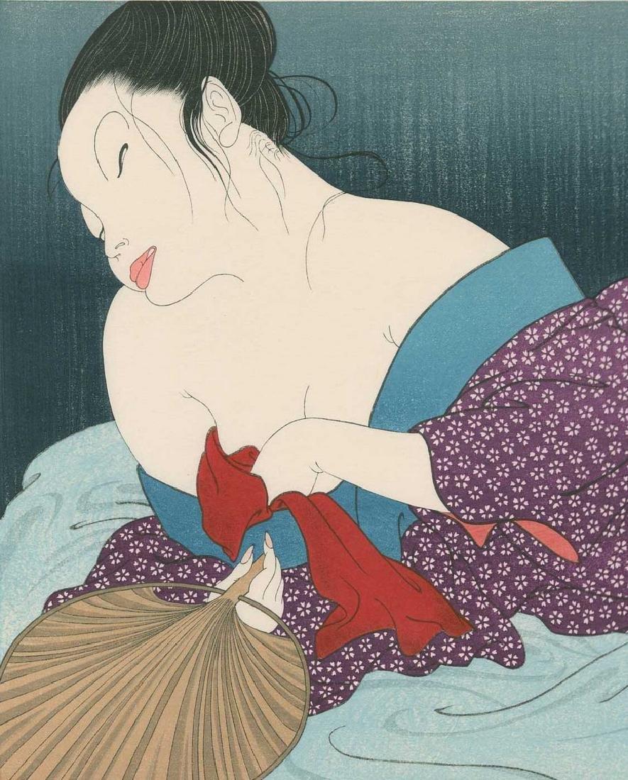 Yoshio Okada - Deshabille Woman Reclining Woodblock - 2