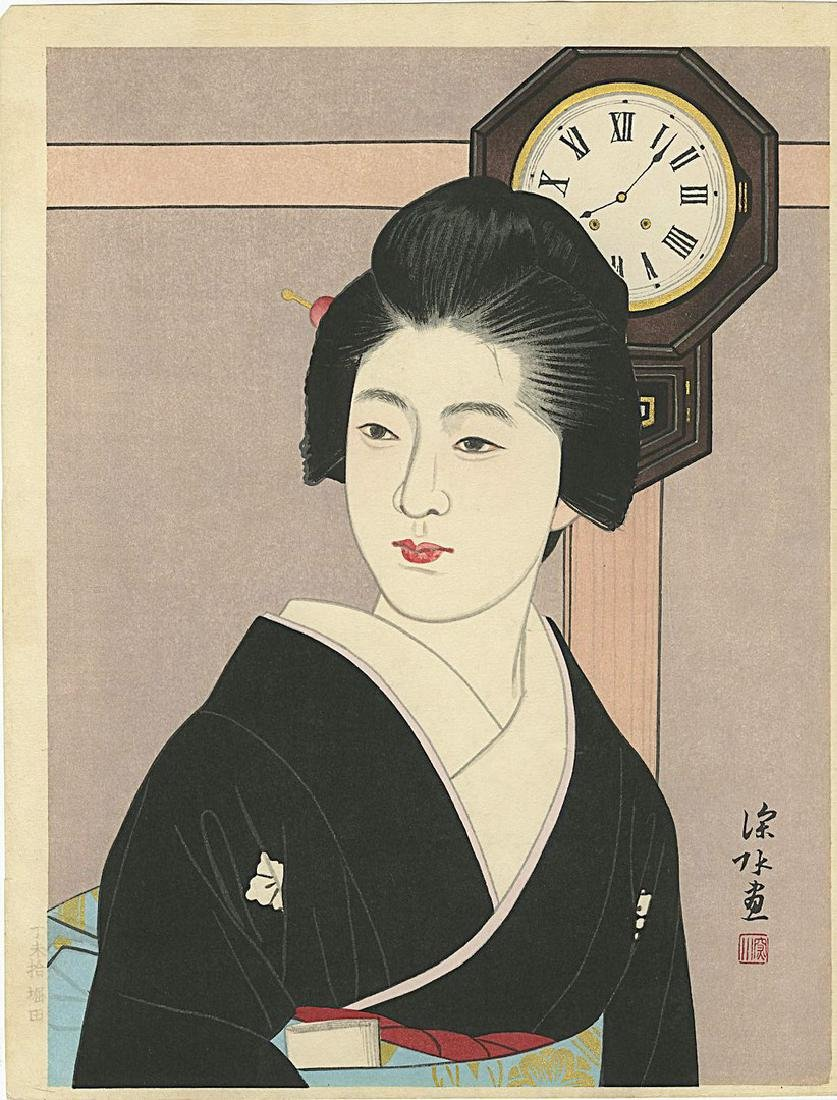 Shinsui Ito: Beauty and Clock Woodblock