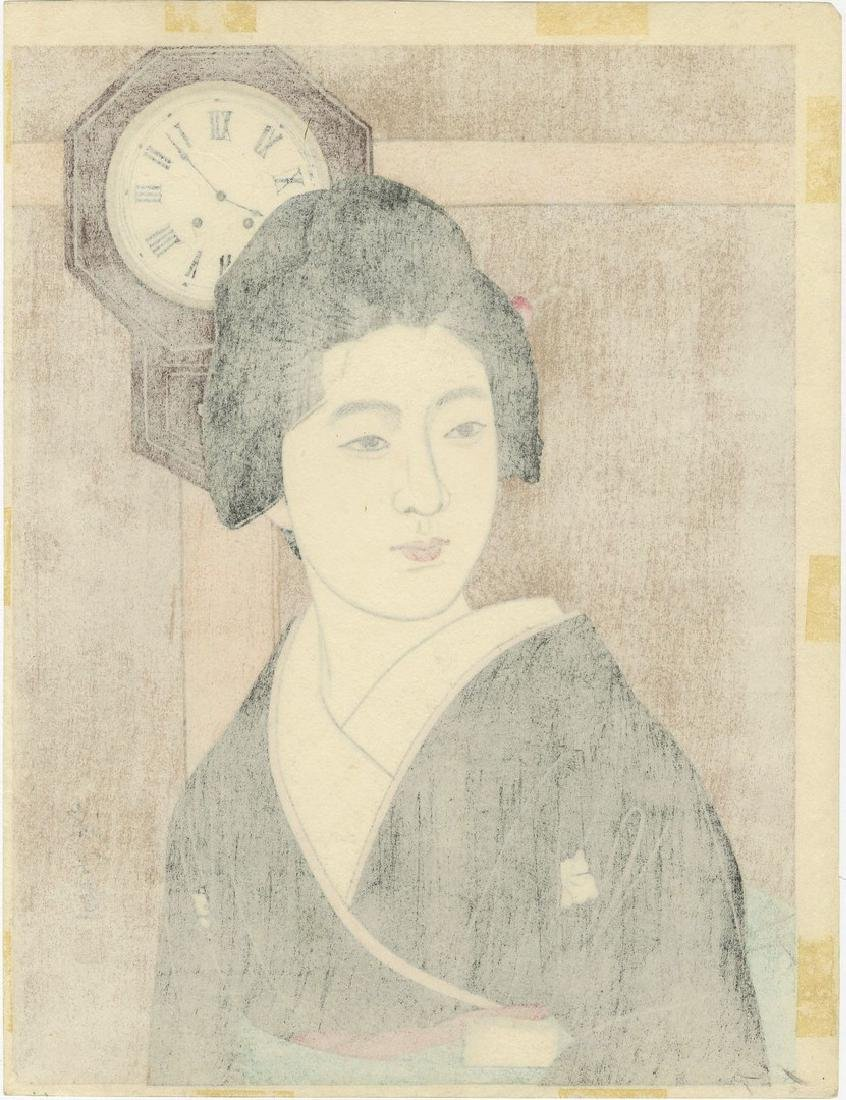Shinsui Ito: Beauty and Clock Woodblock - 2