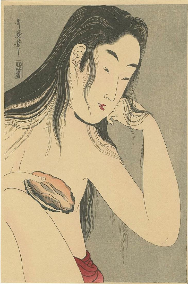 Utamaro: Awabi Diver with Shell Woodblock