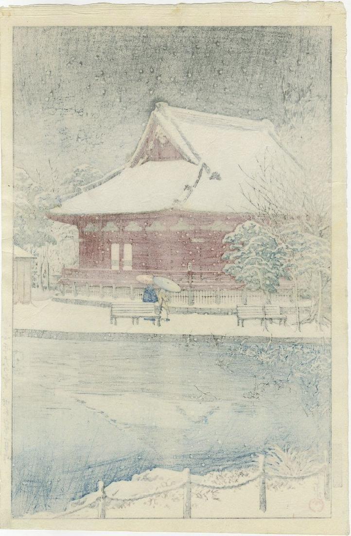 Hasui: Snow at Shinobazu Woodblock 1st Edition - 2