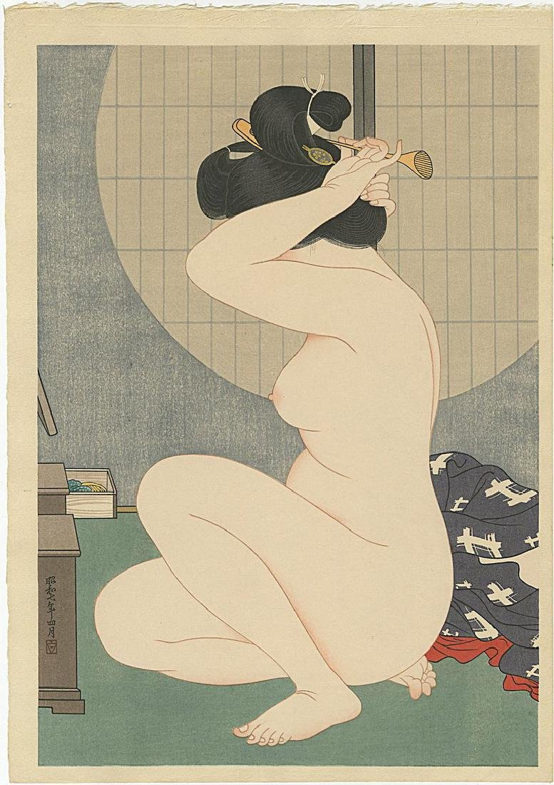 Hakuho Hirano: Arranging Hair after Bath woodblock